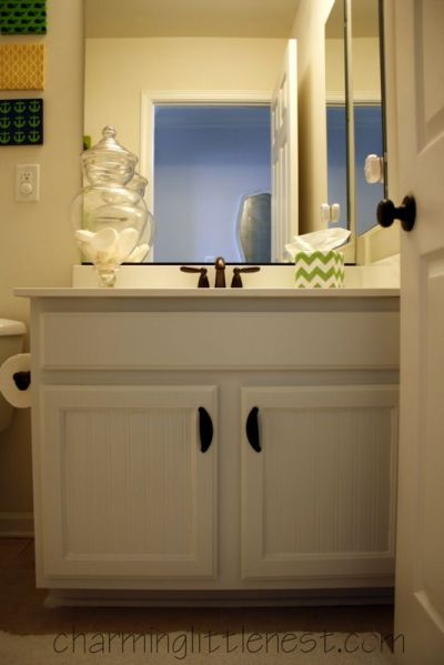 Painted Bathroom Cabinets: A Fresh Update with Paint and Beadboard Wallpaper   Painted Furniture ...