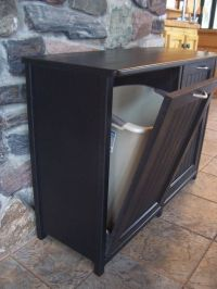 New Black Painted Wood Double Trash Bin Cabinet by
