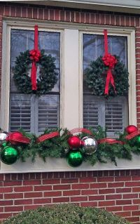 Decoration, Twin Wreaths With Red Bows For Enchanting ...