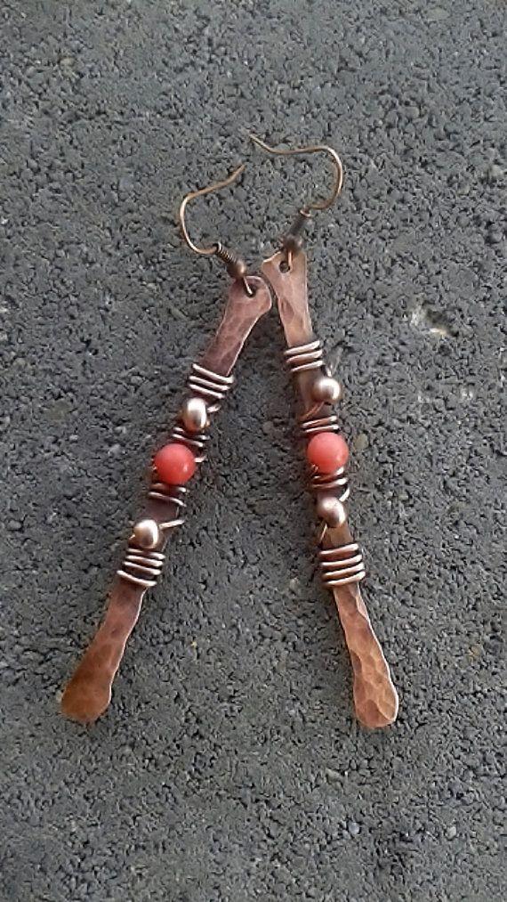 Handmade copper wire earrings ,Copper earrings,Wire