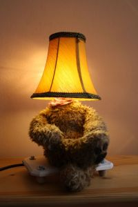 Lamp Bear, old teddy bear, old lamp shade, mood lighting ...