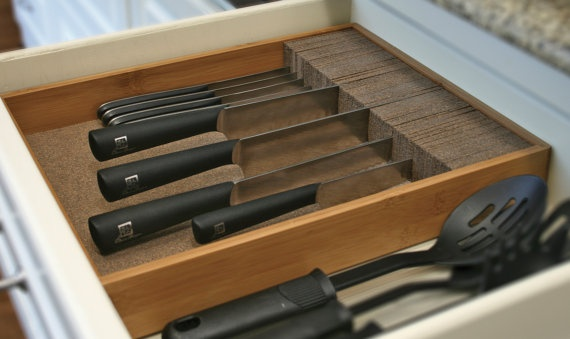 Knifedock Deluxe Drawer Knife Block Kitchen Organizer