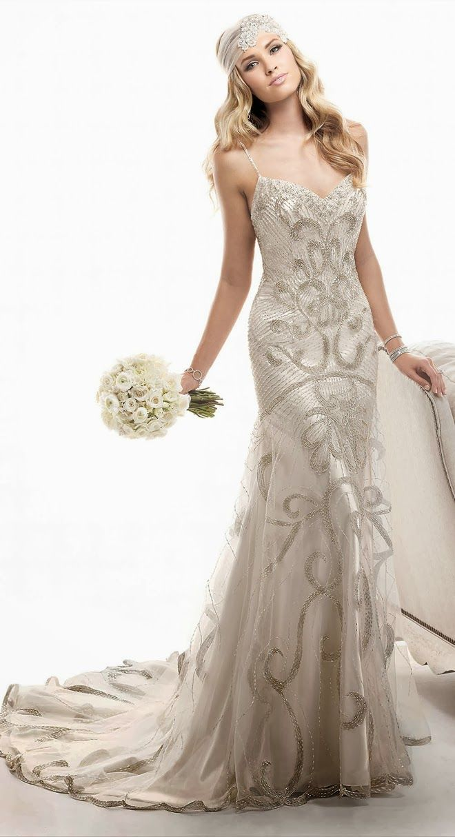wedding dresses s inspired wedding dresses Love this look so classy but prob not for a wedding would make a beautiful evening gown dress and head piece