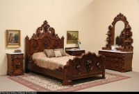 Victorian Carved Oak & Chestnut 1860 Queen Size 4 Pc ...