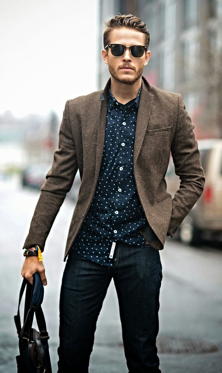 Men s brown wool blazer navy and white polka dot long sleeve shirt navy jeans