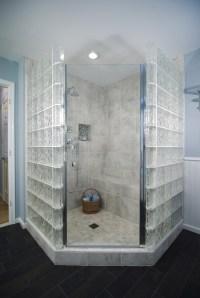 Glass blocks surround this shower in semi-privacy. # ...