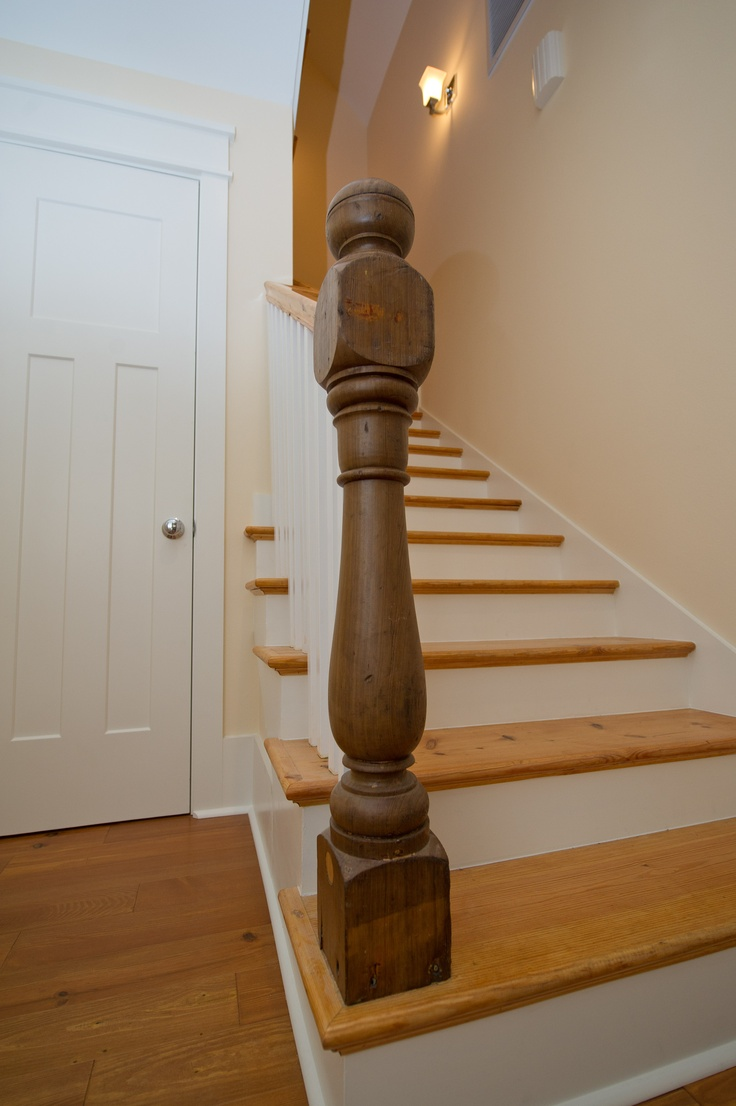 Heart Pine Stair Treads With Reclaimed Turned Newel Post