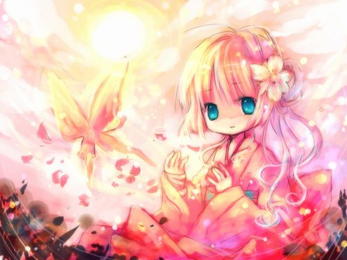 Cute Japanese Cartoon Characters Wallpaper Anime Girl With Blonde Hair And Kimono Blue Eyes