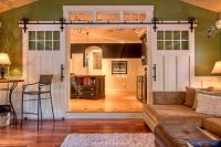 These sliding doors (instead of boring french doors) to ...