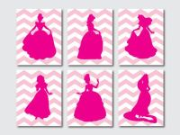 Princess Silhouettes - Set of 6 - Nursery or Girls Bedroom ...