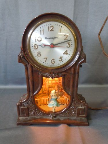 Retro Wall Clock Vtg Mastercrafters Lighted Cottage Girl Swing Bakelite