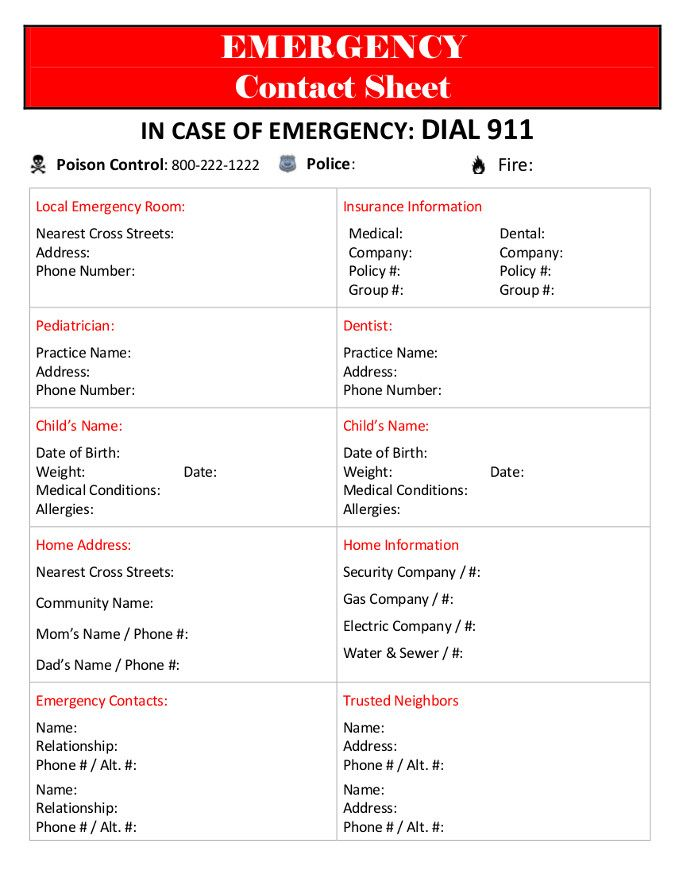 7 Best Images About Emergency Contact Printables On
