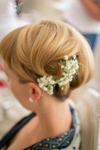 Short hair gypsophila up do bridesmaid | Wedding Hair ...