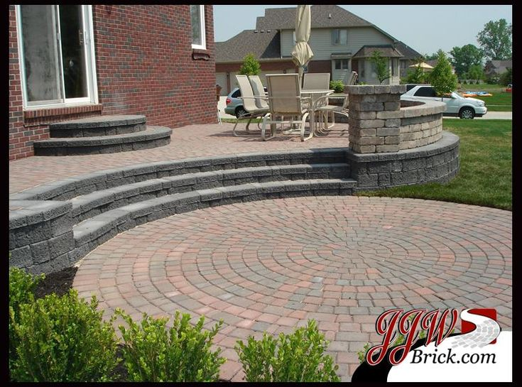 Brick Patio Fire Pit Raised Patio With Seat Wall And