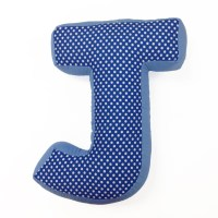 """Simplicity Blue """"J"""" Letter Pillow 