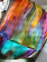 Hand Dyed, Hand Painted Silk, Over the Rainbow Silk Scarf ...
