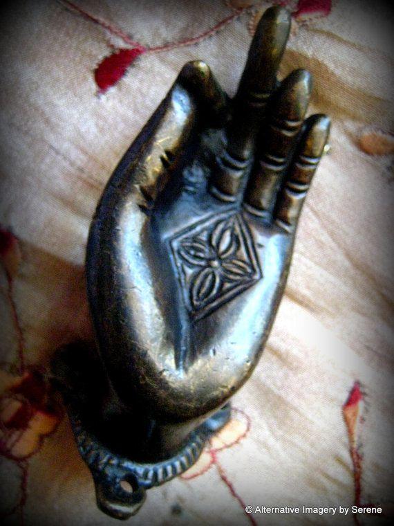 Vintage One Right Hand Tibetan Buddhist Hand Cast Brass