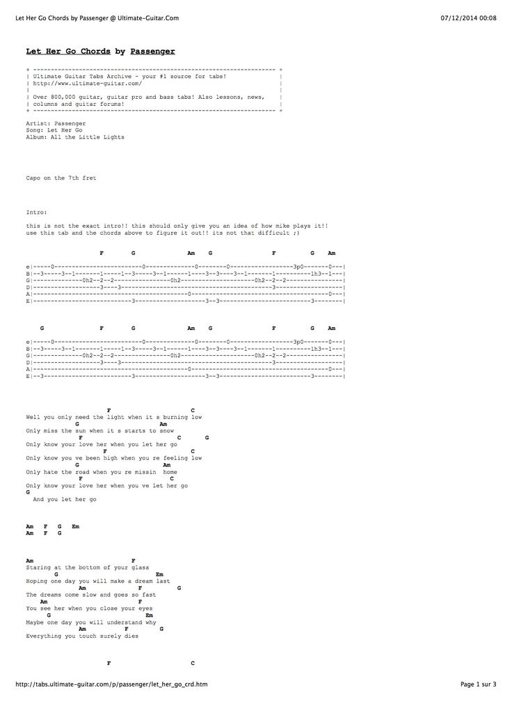 Let Her Go Guitar Tabs Without Capo - LTT