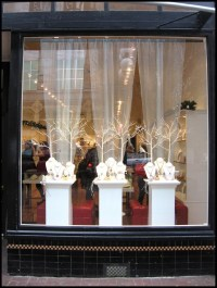 front window display using all white...like the tulle ...
