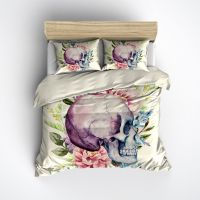 Purple Watercolor Skull Duvet Bedding Sets | Cases, Cream ...