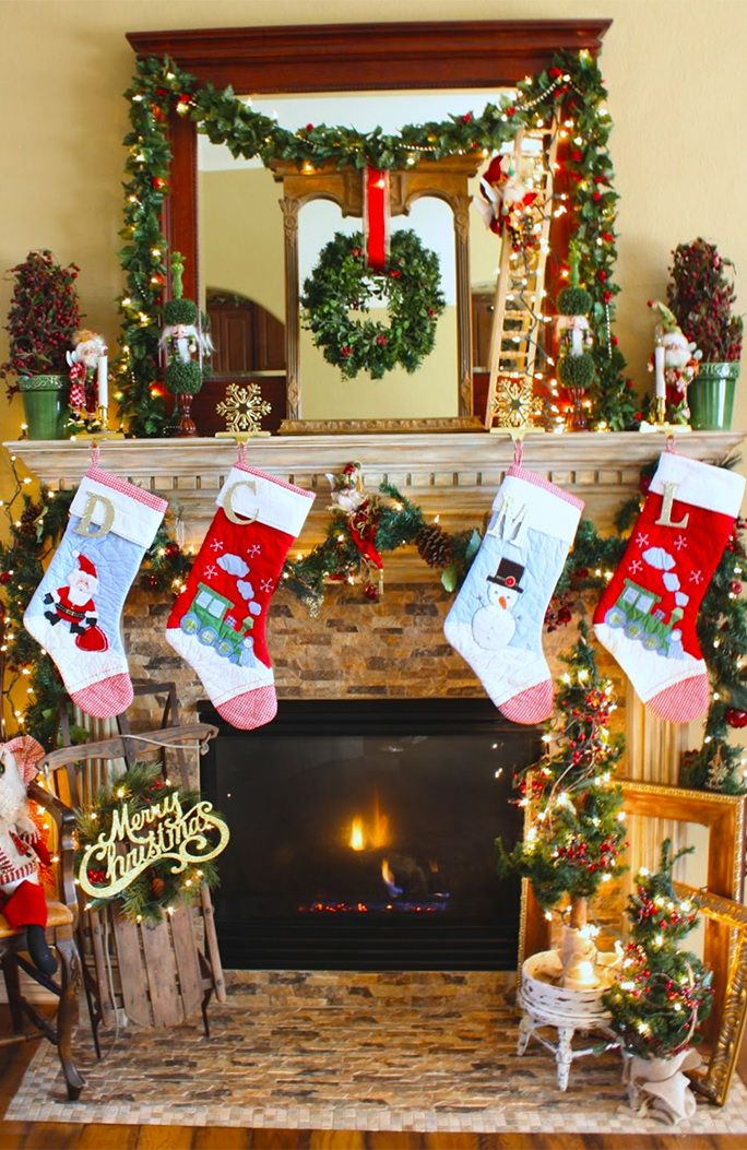 Fireplace Christmas Decorations Best Christmas Love Images On - Pictures of christmas fireplaces
