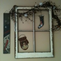 Old window and winter decorations