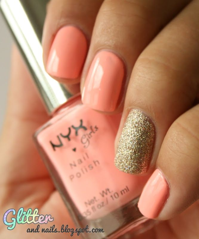 Peach nail art