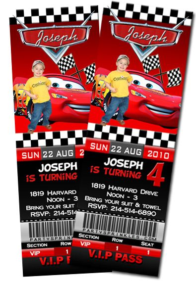 Disney Cars Birthday Party Ticket Invitations By Party