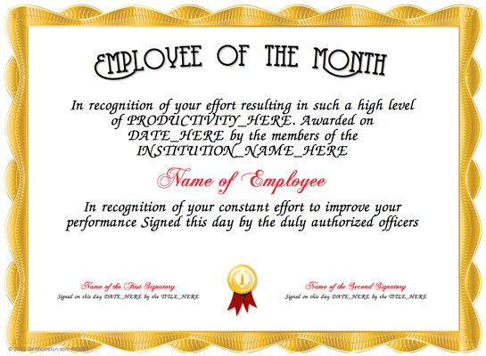 employee of the year certificate wording