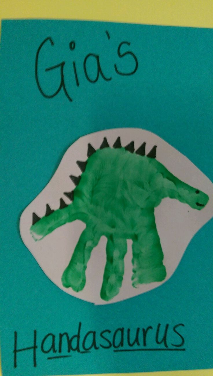 Dinosaur handprint arts crafts idea for children