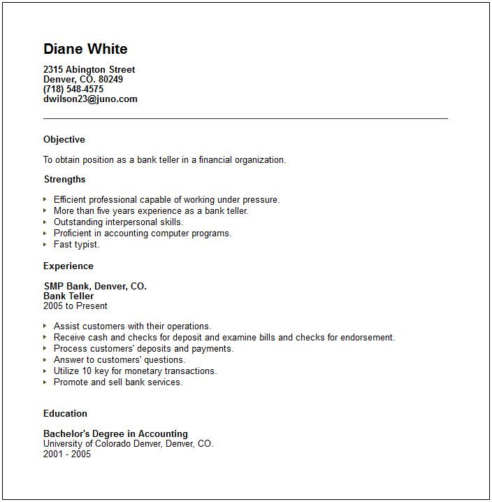 sample resume for bank jobs with experience
