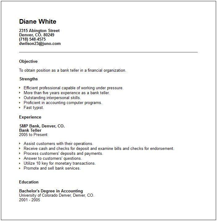 bank teller skills for resume