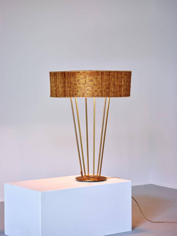 Stiffel Lamp, Brass with Original Shade, 1950s