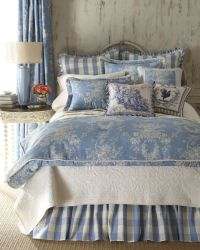 Blue & Ivory Country Cottage Toile Bedding | Country ...