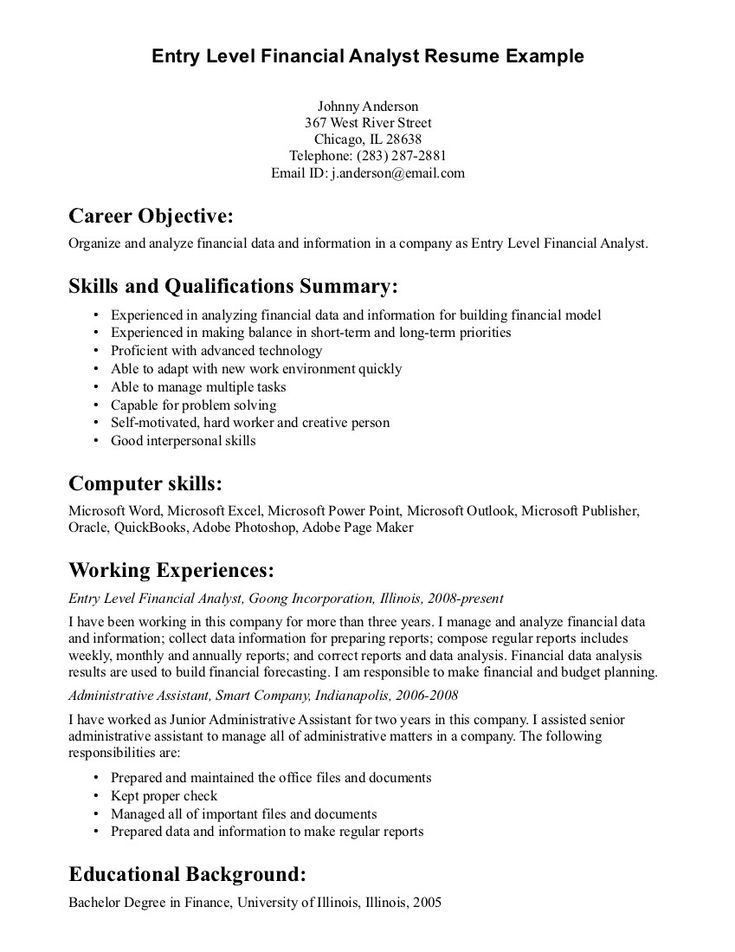resume objective statement example entry level