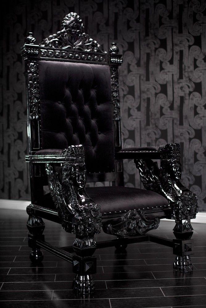 Black lacquer baroque throne chair gothic furniture