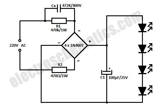 ac powered led circuit schematic diagram