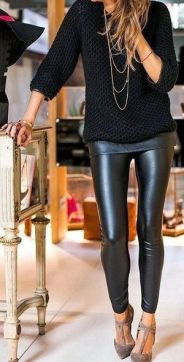 Leather leggings with flats and a sweate for layerings: