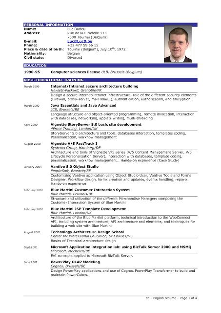 great resume templates in english