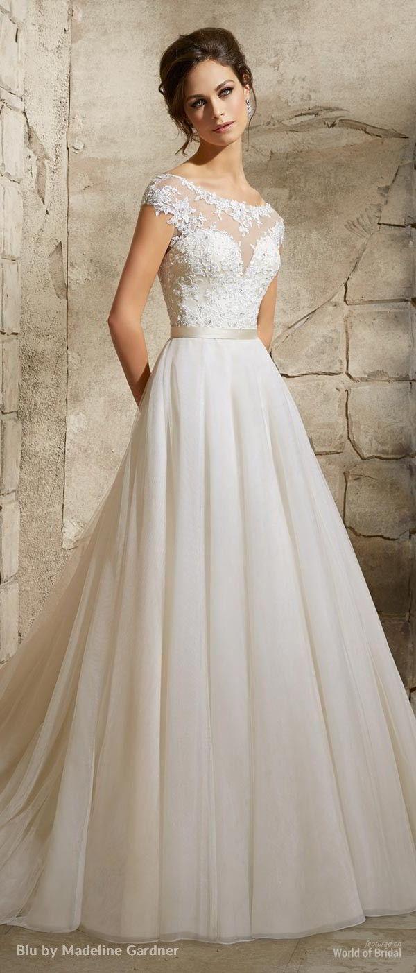 natural wedding dresses tulle wedding dress Blu by Madeline Gardner Wedding Dresses