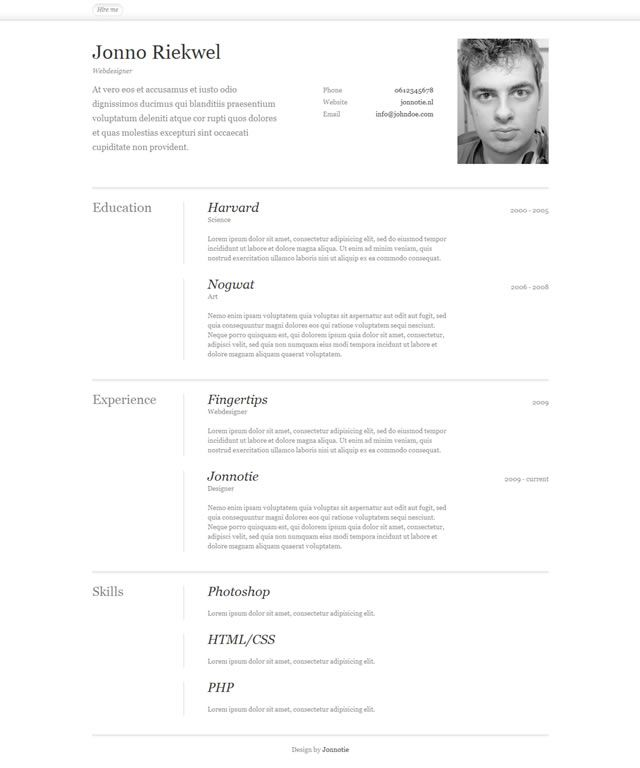 cv template html css free download