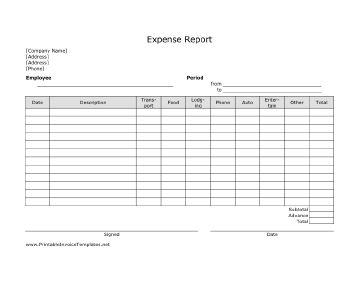 Free Printable Expense Sheet Template Printable Monthly