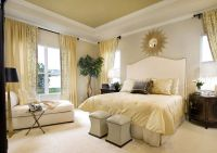 Cream bedroom decor room home bed white cream modern ...