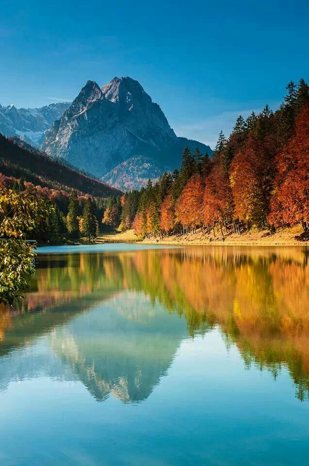 Fall Autumn Desktop Wallpaper Lake Riessersee Bavaria Germany Germany Pinterest