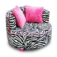 Black Pink Zebra Round Chair Air Room Dorm Kids Teen Bean ...