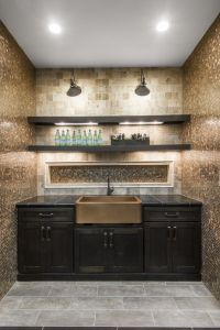 Copper penny round mosaic tile backsplash and a copper ...