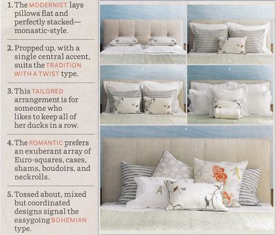 Various ways to arrange pillows on the bed decorating