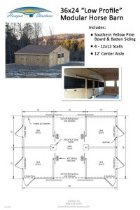 24x36 4-stall modular horse barn. Delivered in 2 pre-built ...