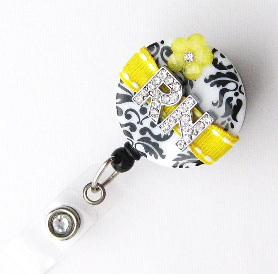 Custom Yellow Rn Bling Designer Name Badge Reel Unique