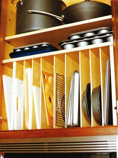 Organiser For Kitchen Cupboard Vertical Cabinet Dividers - For Cutting Boards, Sheet Pans